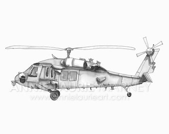 """Vintage Helicopter - 8x10"""" Watercolor Print - Gray Helicopter, Chopper"""