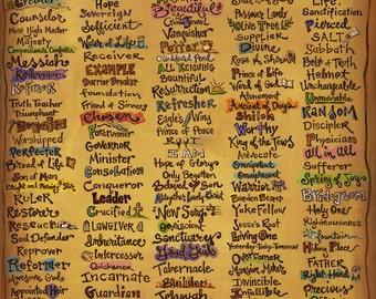 "Names of God - Canvas Print (16x20"") - Scripture Art - Christian Canvas - Inspirational Print"