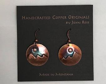 Handcrafted Copper Mountain scene Earrings