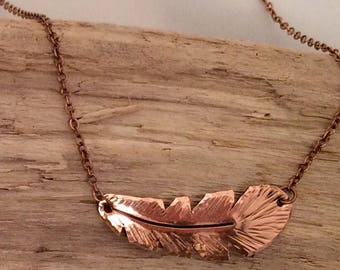 Copper Feather Necklace, Feather, Petite feather, Torched Copper, Handcrafted, Made in Montana