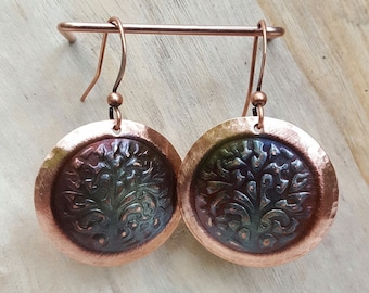 Handcrafted Copper Tree of Life Earrings