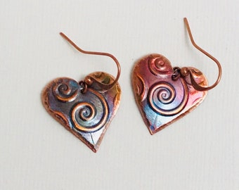 Handcrafted Copper Heart Earrings