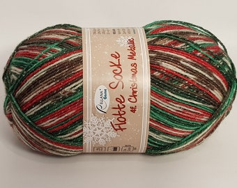 rellana flotte sock yarn christmas 2018 superwash metallic 100g459 yds 2402