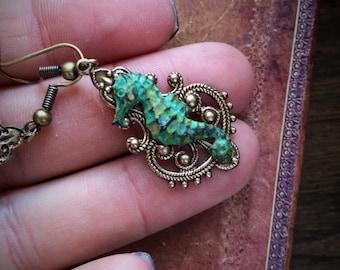 Seahorse Earrings, Sea Horse Earrings, Atlantis Earrings, Patina Seahorse earrings, seahorse jewelry, green seahorse earrings, seahorses