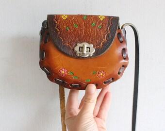 mini tooled leather painted leather bag crossbody
