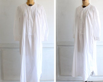 vintage white cotton nightgown Eileen West victorian style made in USA 3d07b3dd9
