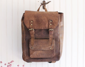 09f0d767c rustic leather backpack leather rucksack leather book backpack