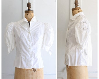 897fc785702a1b 60s vintage puffy sleeve blouse white eyelet blouse vintage white cotton  blouse