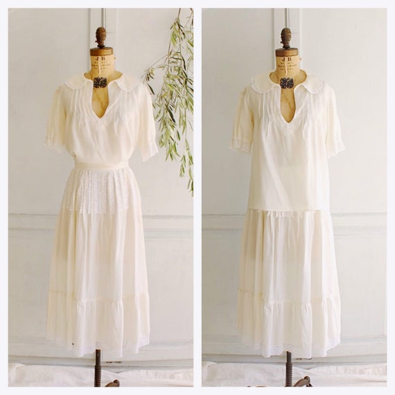 30s vintage silk peasant blouse & prairie skirt