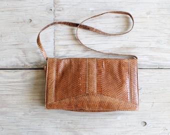 vintage snakeskin bag | envelope clutch with detachable strap