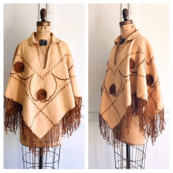 Vintage fringed poncho embroidered wool poncho