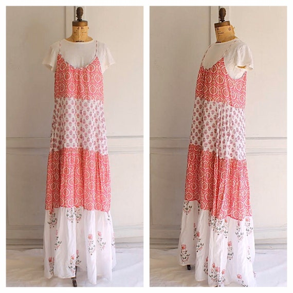 Vintage tiered cotton maxi dress Indian cotton dre