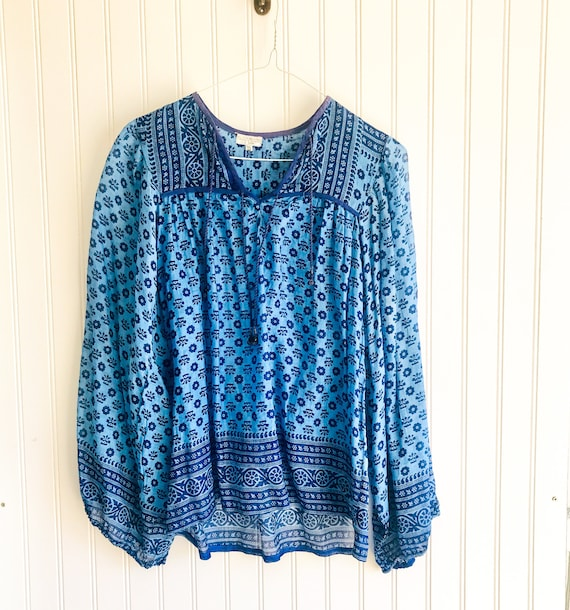 70s vintage Indian gauze blouse indigo peasant blo