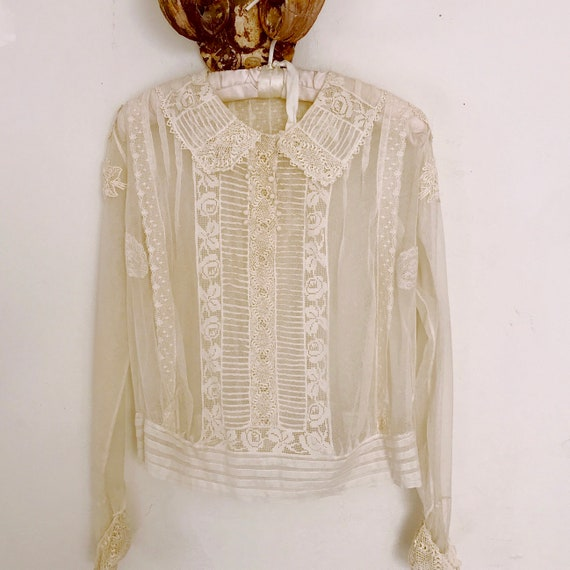 Edwardian lace blouse antique lace collar blouse - image 1
