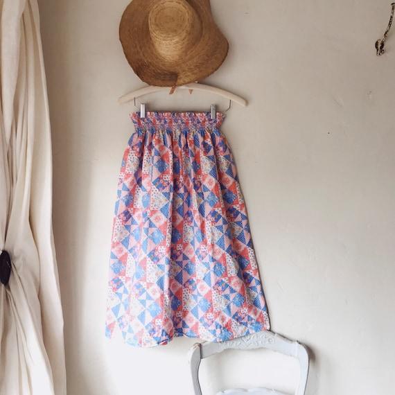 70s vintage patchwork quilt skirt - image 1