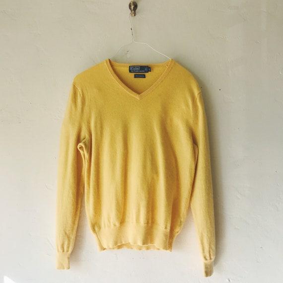 vintage cashmere sweater 80s Polo Ralph Lauren ye… - image 1