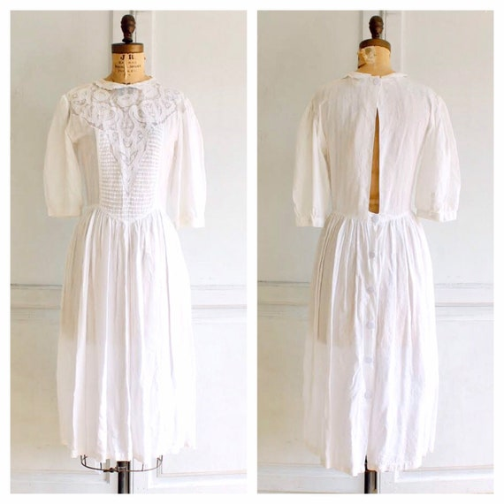 80s vintage white Phool dress puff sleeve dress In
