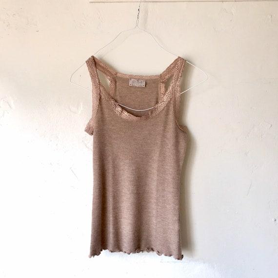 Ribbed cashmere tank cashmere lounge wear sleevele