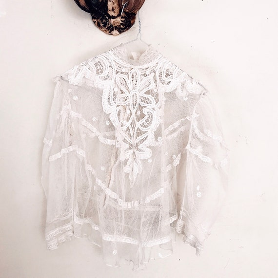 Edwardian lace blouse high neck prairie blouse