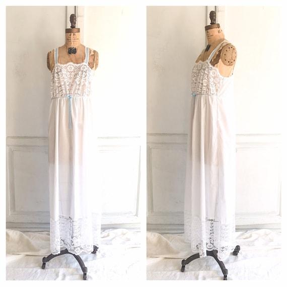 Vintage white cotton slip dress lace nightgown  bo