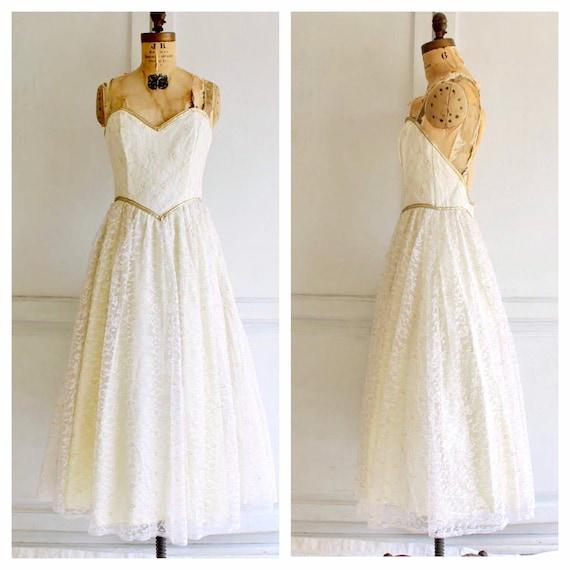 vintage Gunne Sax dress white lace wedding dress 8