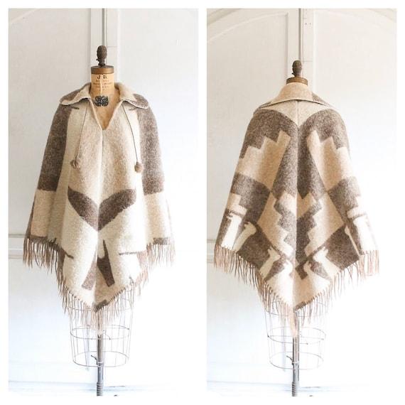 70s vintage wool poncho blanket poncho boho poncho