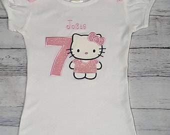 KITTY Personalized Name And Age Birthday Glitter Shirt Kitty Top Big Girl