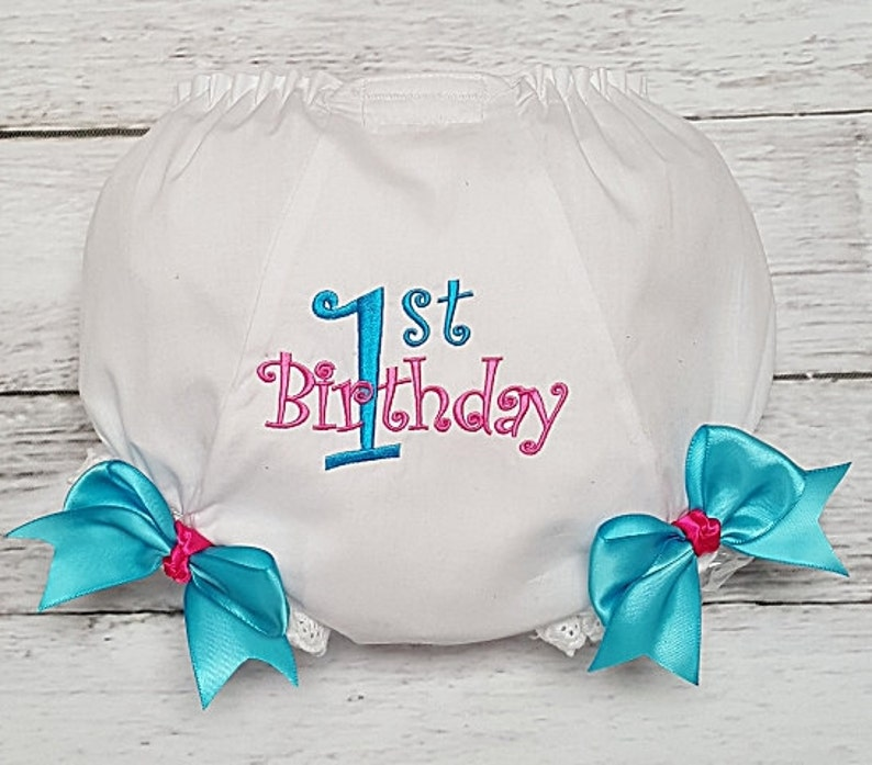 Turquoise and Hot PInk 1st Birthday Diaper Cover Bloomers First Birthday