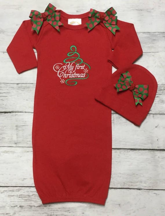 Newborn Christmas Dresses 0 3 Months.My First Christmas Red Layette Gown Hat Option 0 3 Or 3 6 Months Take Me Home Newborn Infant Girls 1st Christmas