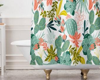 Succulent Shower Curtain Bathroom Decor Cactus Bohemian Nature Inspired Garden Design Boho