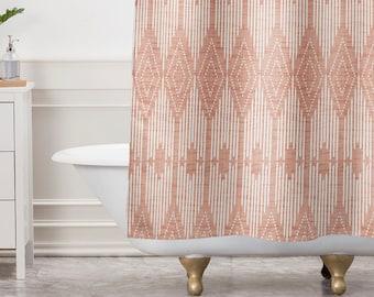 Blush Pink Geometric Shower Curtain Bathroom West End Design Retro Decor