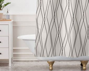 Beige Shower Curtain // Bathroom // Fuge Stone Design // Modern Geometric // Shower // Bathroom Decor // Minimalist Decor // Modern Home