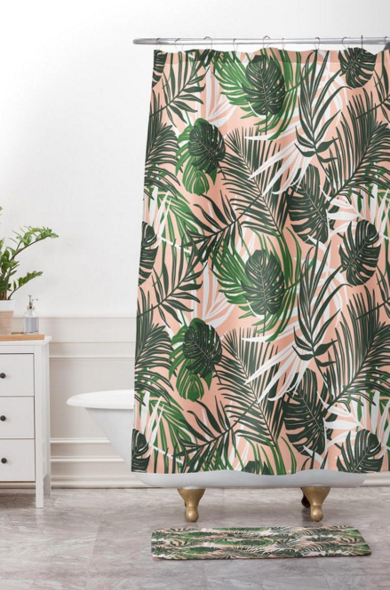 Tropical Shower Curtain Bathroom Hideaway Design
