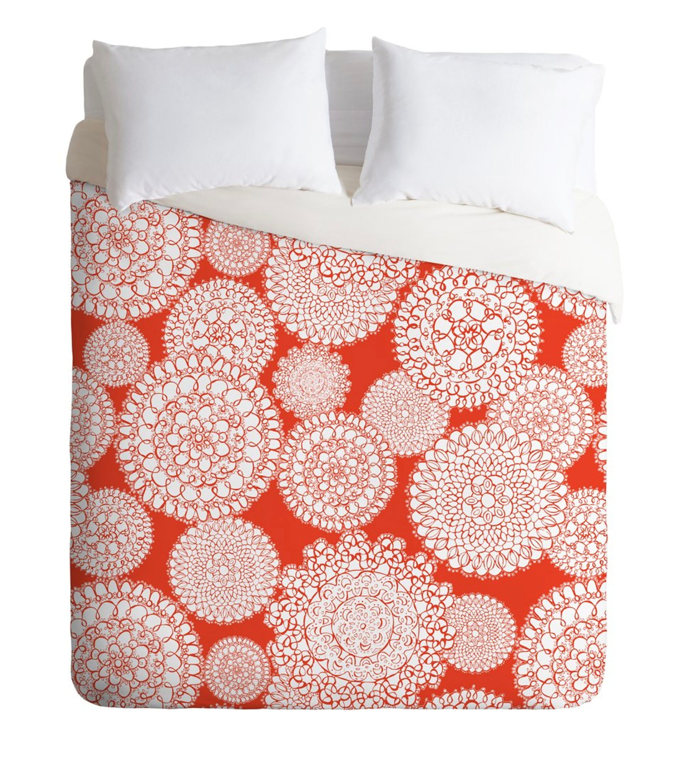 Boho Duvet Cover // Literie // Twin, Queen, King Sizes // Home Decor // Delightful Doilies Saffron Orange Design // Bold // Bedroom // Boho