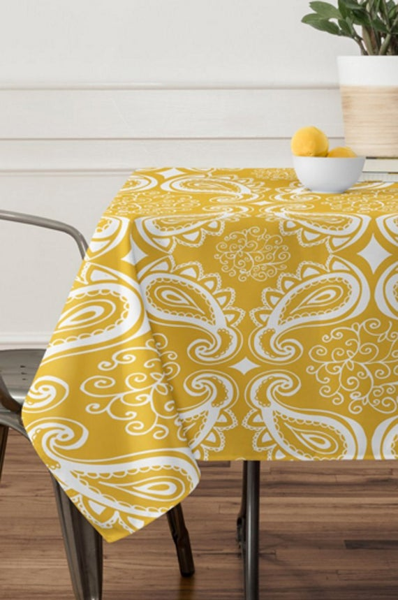 Yellow Paisley Tablecloth // Table Linens // Dining Room // | Etsy