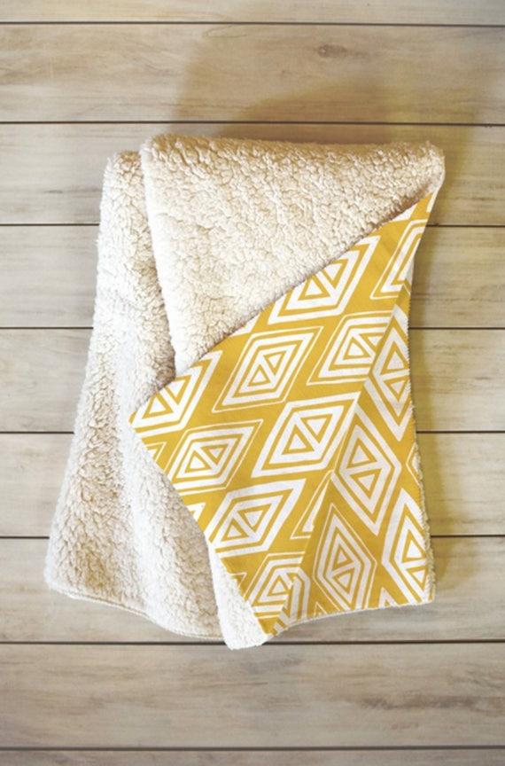 Yellow Geometric Fleece Sherpa Throw Blanket Home Decor Etsy