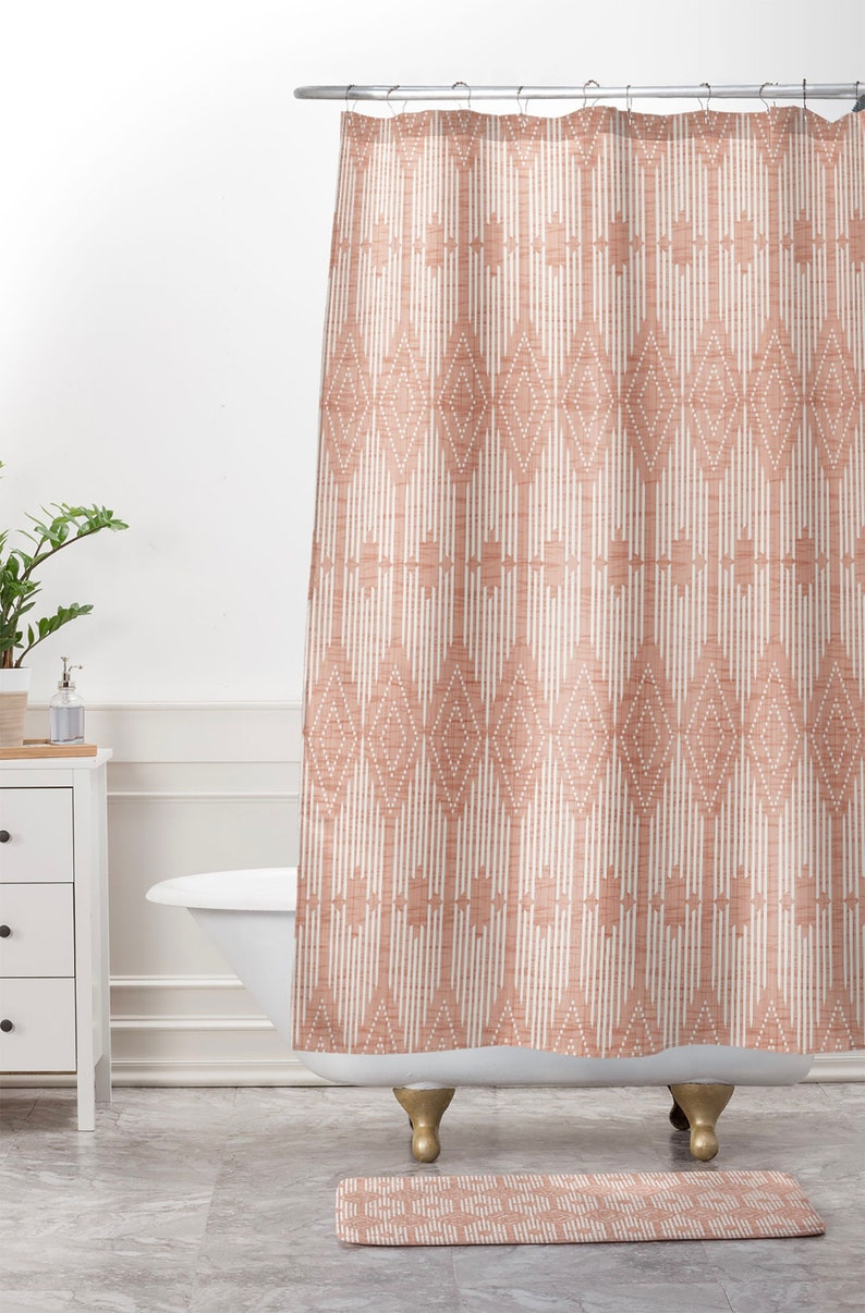 Blush Pink Geometric Shower Curtain Bathroom West End