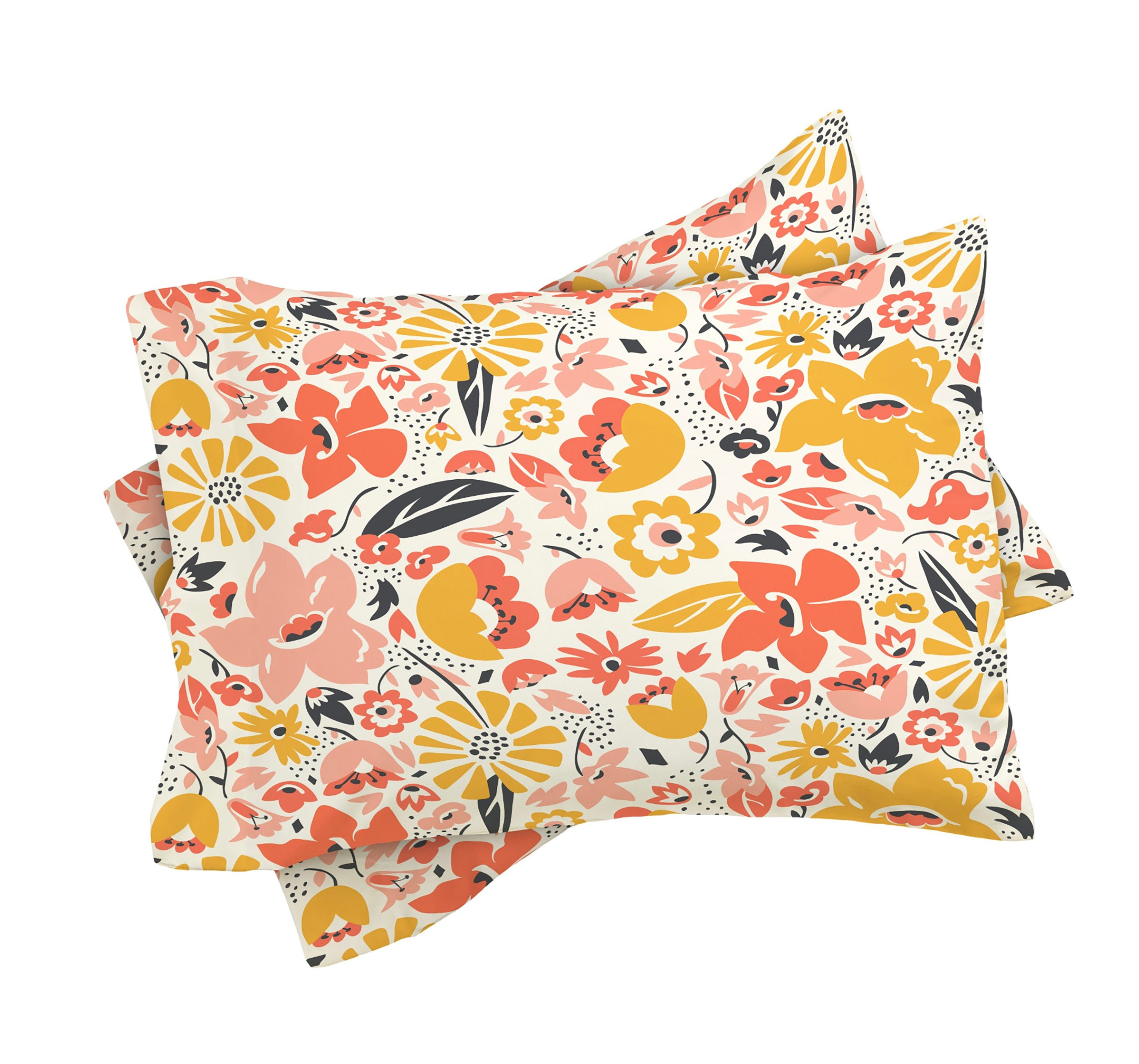 Boho Floral Duvet Cover // Twin, Queen, King Sizes // Home Decor // Bedding // Betty Floral Design // Coral ' Gold // Bedroom // Boho Style
