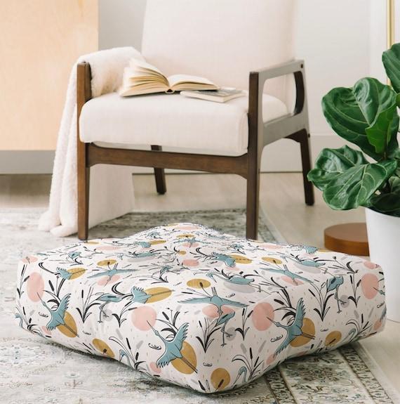 Cream Floor Pillow  Floor Cushion  Dorm Decor  Pillows  Round and Square Sizes  Marshland Design  Home Decor  Birds  Nature