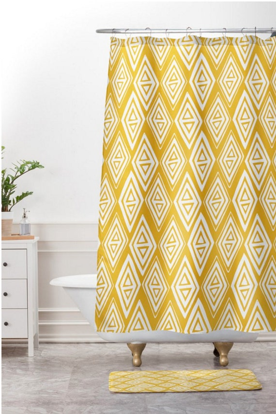 Yellow Shower Curtain Fabric Shower Curtain Boho Shower Etsy