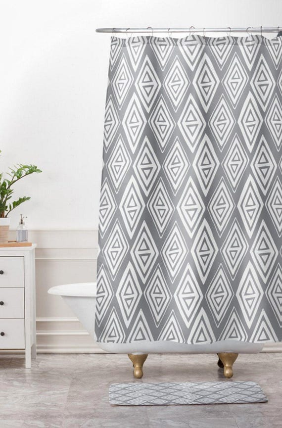 Grey Geometric Shower Curtain Bathroom Diamond In The
