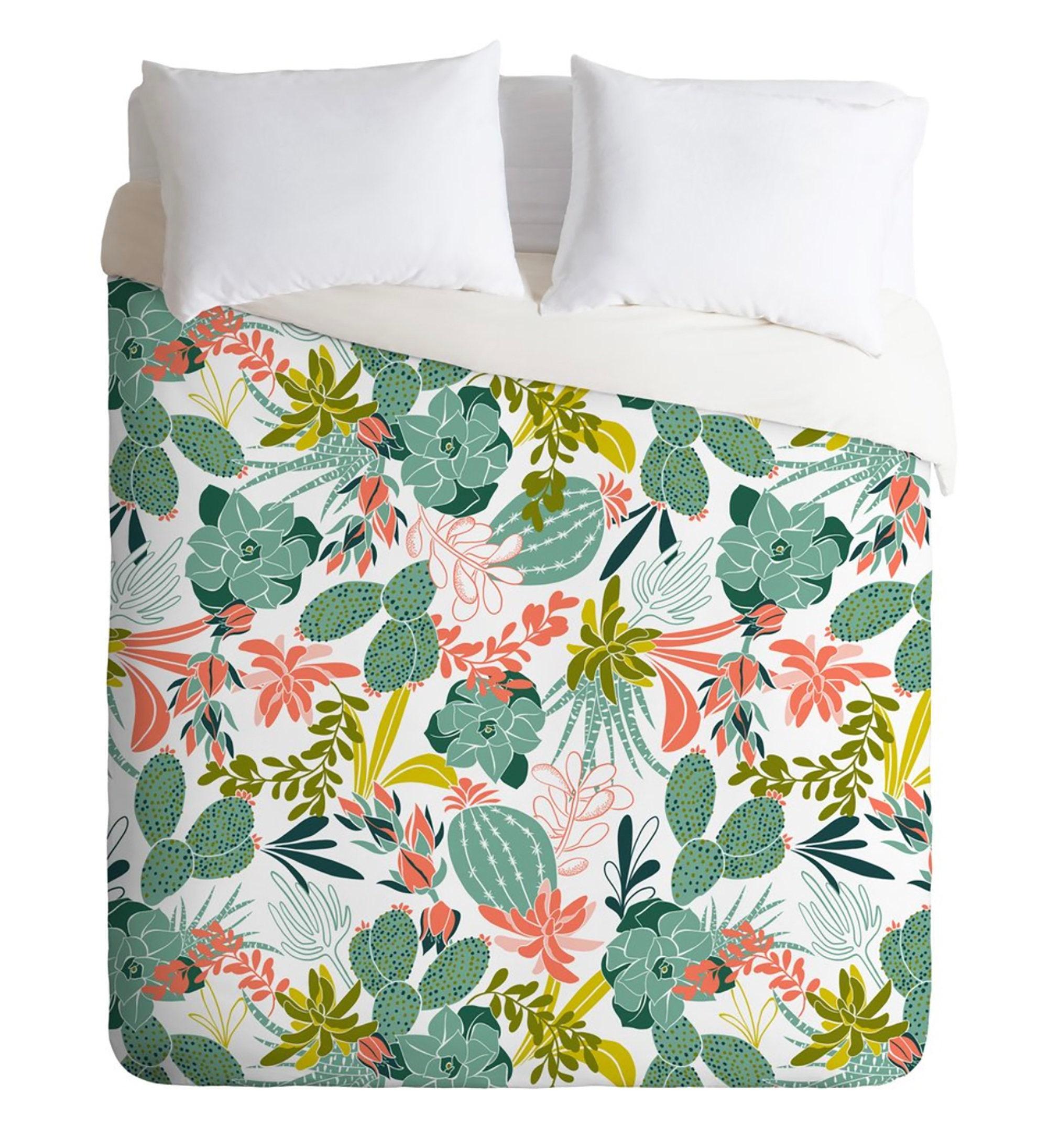 Boho Duvet Cover // Twin, Queen, King Sizes // Bedding // Succulent Garden White Design // Duvet // Succulent // Cactus // Boho Home