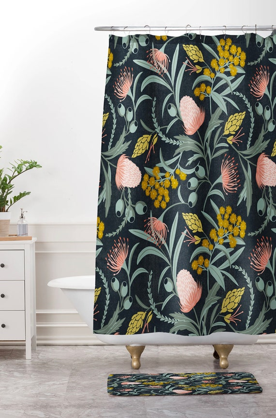 Flower Shower Curtain Bohemian Pink Blossom Print for Bathroom