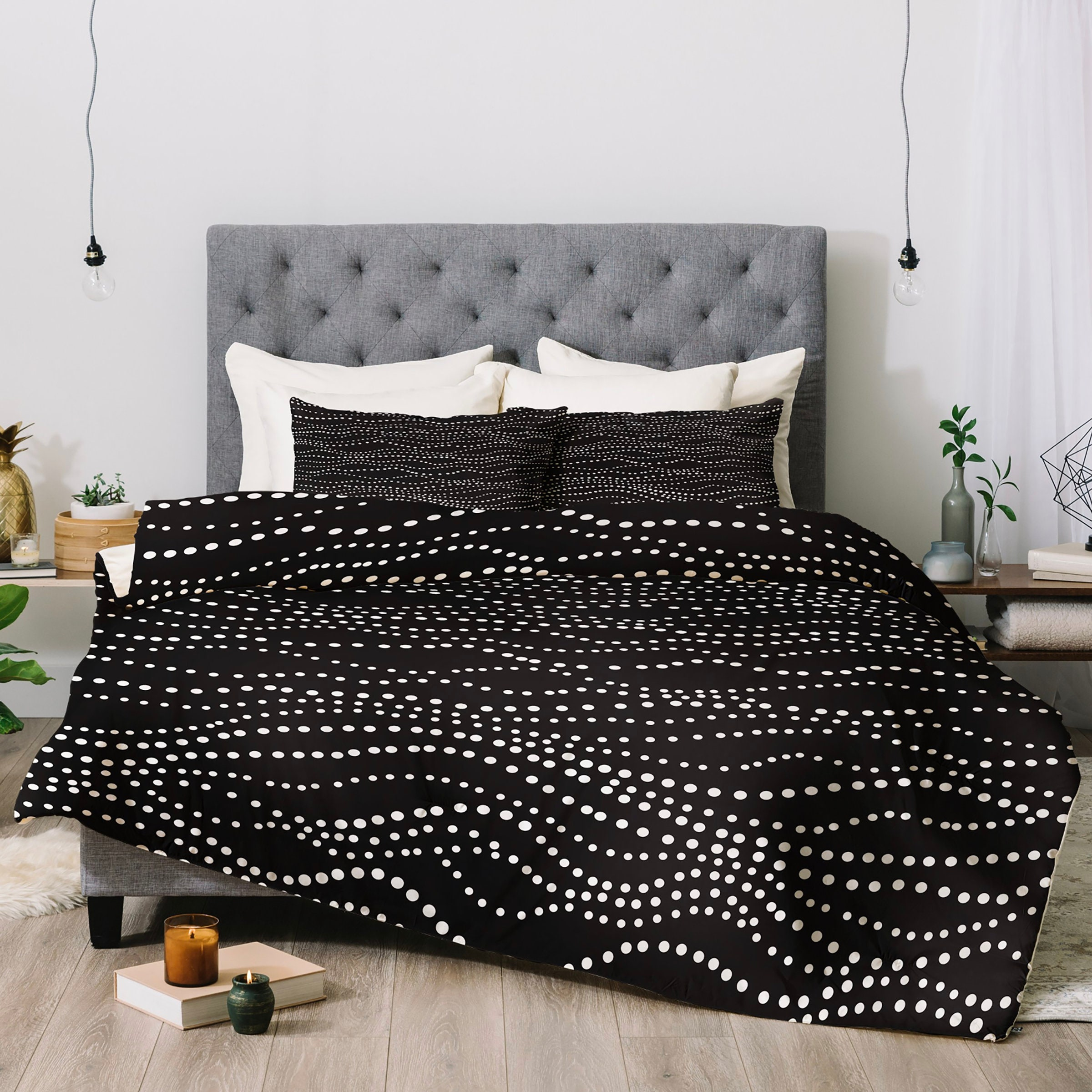 Black Dot Duvet Cover // Modern Geometric Design // Twin, Queen, King Sizes // Bedding // Gossamer Midnight Design // Black - White // Dots