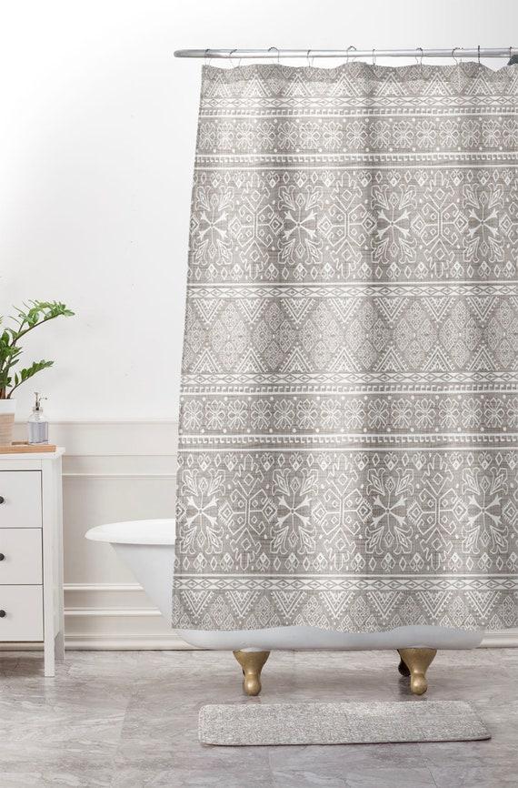 Boho Shower Curtain Neutral Beige Bathroom Grand