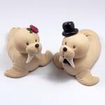 Personalized Wedding Cake Topper, Walrus Figurines, Animal Wedding Cake Topper, Handmade Wedding Decoration, Unique Cake Topper