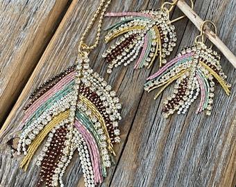 Gift under 100 Sweet Bohemian Sizzle,Jewelry set under 100 SAMPLE SALE Boho style Watermelon Quartz Necklace and Earring Set Jewelry set