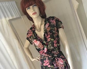 Vintage 1940s Style Replica Semi Sheer Floral Chiffon Day Dress Frock Size M Very Pretty Feminine
