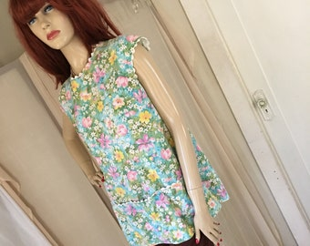 Vintage 1950s 1960s Floral Cotton Smock Top Open Back Large Pouch Front Pockets About One Size