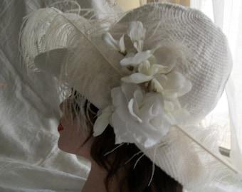 1920s Flapper Style Cloche Hat Woven Cotton Orig Design Wedding